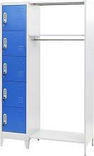 vidaXL Locker Cabinet with Coat Rack Blue and Grey