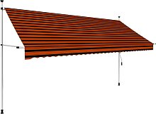 vidaXL Manual Retractable Awning 350 cm Orange and