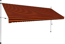 vidaXL Manual Retractable Awning 400 cm Orange and