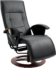 vidaXL Massage Chair Black Faux Leather