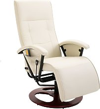 vidaXL Massage Chair Cream White Faux Leather