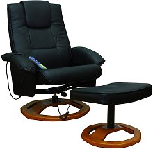 vidaXL Massage Chair with Footstool Black Faux Leather