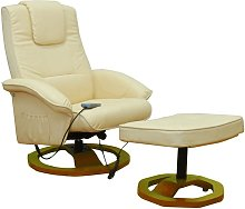 vidaXL Massage Chair with Footstool Cream Faux
