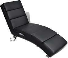 vidaXL Massage Recliner Black Faux Leather