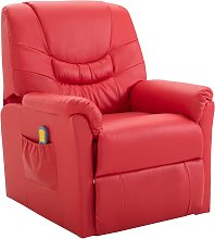 vidaXL Massage Recliner Chair Red Faux Leather