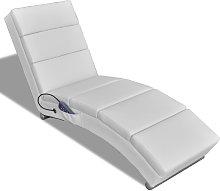 vidaXL Massage Recliner White Faux Leather