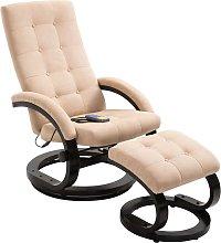 vidaXL Massage Recliner with Footrest Cream