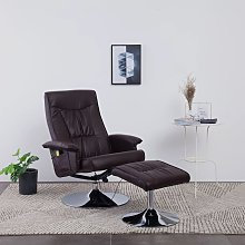 vidaXL Massage Recliner with Footstool Brown Faux