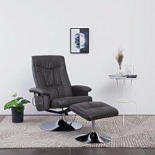 vidaXL Massage Recliner with Footstool Grey Faux