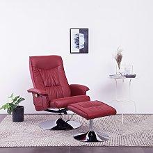 vidaXL Massage Recliner with Footstool Wine Red