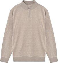 vidaXL Men's Zip Pullover Sweater Beige M -