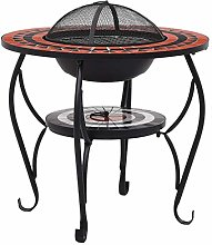 for Garden or Patio Decor Round Tabletop for Placing Drinks and Roasting Supplies Festnight Mosaic Fire Pit Green 68cm Ceramic with a Three-leg Stand