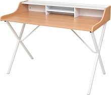 vidaXL Natural Wood Workstation Computer Desk