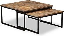 vidaXL Nesting Coffee Table Set 2 Pieces Solid