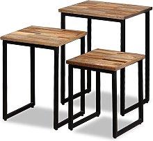 vidaXL Nesting Coffee Table Set 3 Pieces Solid