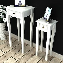 vidaXL Nesting Side Table Set 2 Pieces with Drawer White