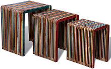 vidaXL Nesting Table Set 3 Pieces Colourful