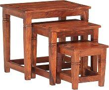 vidaXL Nesting Tables 3 pcs Solid Acacia Wood