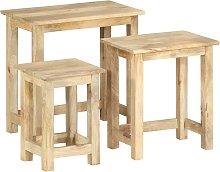 vidaXL Nesting Tables 3 pcs Solid Mango Wood
