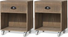 vidaXL Nightstand 2 pcs Brown Solid Wood