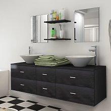 vidaXL Nine Piece Bathroom Furniture Set with