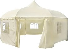 vidaXL Octagonal party tent white (creme) 6 x 6 x