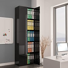 vidaXL Office Cabinet High Gloss Black 60x32x190