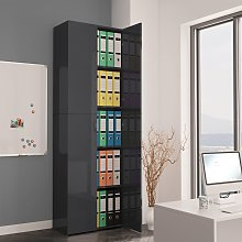 vidaXL Office Cabinet High Gloss Grey 60x32x190 cm
