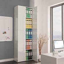 vidaXL Office Cabinet High Gloss White 60x32x190