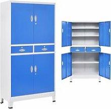 vidaXL Office Cabinet with 4 Doors Metal 90x40x180