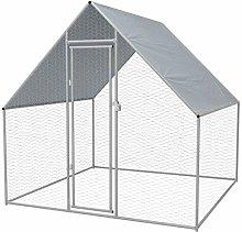 vidaXL Outdoor Chicken Cage Galvanised Steel
