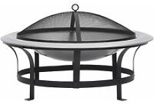 vidaXL Outdoor Fire Pit with Grill Stainless Steel