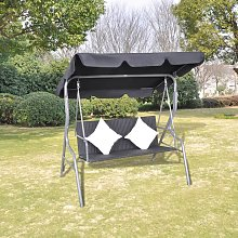 vidaXL Outdoor Hanging Swing Bench with a Canopy Black Poly Rattan