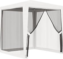vidaXL Party Tent with 4 Mesh Sidewalls 2x2 m White