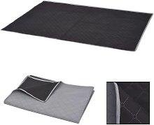 vidaXL Picnic Blanket Grey and Black 100x150 cm