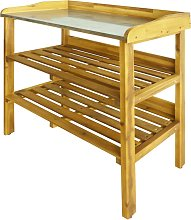 vidaXL Potting Bench with 2 Shelves Solid Acacia