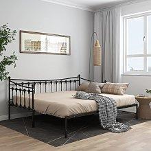 vidaXL Pull-out Sofa Bed Frame Black Metal 90x200