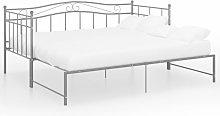 vidaXL Pull-out Sofa Bed Frame Grey Metal 90x200