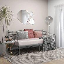 vidaXL Pull-out Sofa Bed Frame Grey Metal 90x200 cm