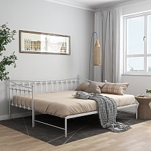 vidaXL Pull-out Sofa Bed Frame White Metal 90x200