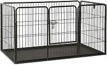 vidaXL Puppy Playpen Steel 125x80x70 cm - Black