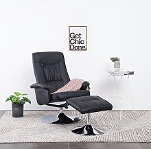 vidaXL Recliner Chair with Footstool Black Faux
