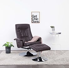 vidaXL Recliner Chair with Footstool Brown Faux