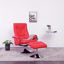 vidaXL Recliner Chair with Footstool Red Faux