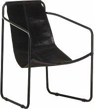 vidaXL Relaxing Armchair Black Real Leather - Black