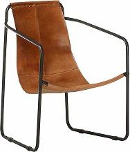 vidaXL Relaxing Armchair Brown Real Leather - Brown