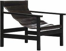 vidaXL Relaxing Armchair Real Leather Black - Black