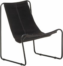 vidaXL Relaxing Chair Black Real Leather - Black
