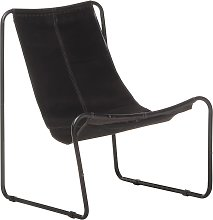 vidaXL Relaxing Chair Black Real Leather