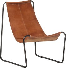 vidaXL Relaxing Chair Brown Real Leather